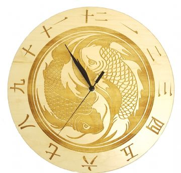Two Fish Ying Yang Design Wall Clock - Choice Of Two Wood Types